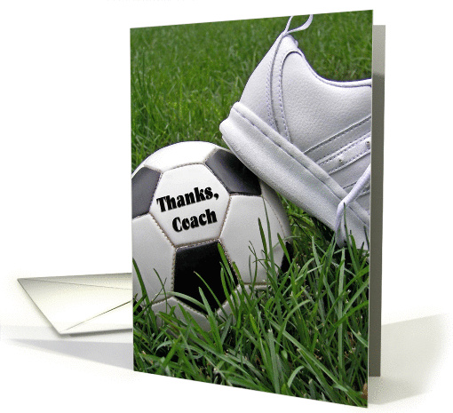 Thank You to soccer coach-soccer ball with shoe in grass card (433980)