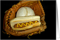picnic invitation-hot dog with ball in baseball glove card