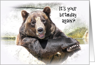 smiling birthday brown bear in water card