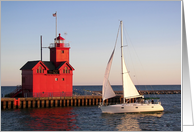 Birthday Big Red Michigan lighthouse and sailboat in Holland Harbor card
