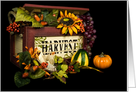 Thanksgiving fruits and vegetables in wooden harvest box card