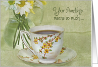 Friendship cup of tea with daisy bouquet card