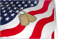 Veterans Day-military dog tags on flag with U.S. Constitution card