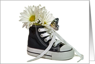 Birthday-daisy and butterfly on a sneaker isolated on white card