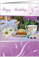 Birthday vintage teacup with blueberry muffin basket and daisies card