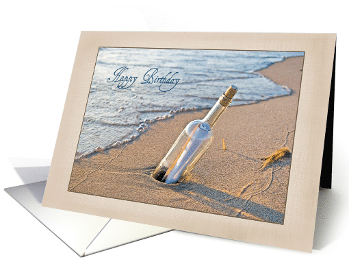 Birthday message in a bottle in beach sand card (613840)