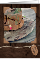 Birthday- fishing hat and colorful fly on wood grain background card