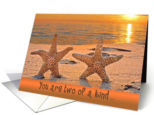 anniversary with starfish on sunset beach card (705966)