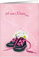 New Niece Congratulations daisy bouquet in girlie sneakers on gingham card
