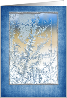 ice crystal on window close up with blue and silver frame card