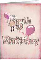 5th Birthday party invitaiton-girl with pink balloons card
