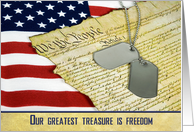 Veterans Day-dog tag with American flag and vintage constitution card