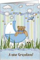 New Grandson, brown teddy bear in baby buggy with airplane card