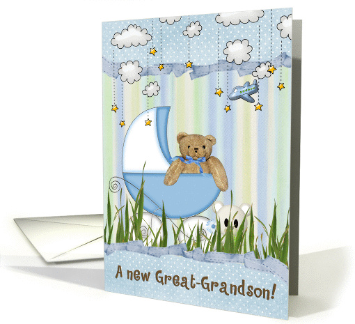 new great grandson teddy bear in buggy card (805782)
