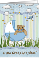 new great grandson teddy bear in buggy card