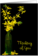Thinking of You for friend-forsythia bouquet with ladybugs card