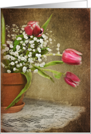 Thinking of you tulip bouquet with textured overlay card