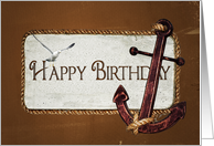 Nautical Birthday anchor with rope and seagull card