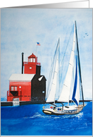 Nautical Birthday-red lighthouse and sailboat in watercolor art card