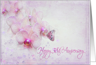 38th anniversary butterfly on pink orchid flower with bubbles card