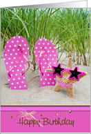 Birthday for Friend, polka dot flip-flops with starfish in sand card