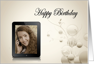 Electronic tablet Birthday photo card with contemporary sepia design card