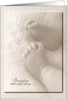 Birth of Grandchild with baby feet on blanket in soft sepia tone card