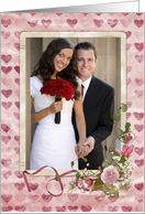 Anniversary for Daughter & Son in law photo card with rose bouquet card