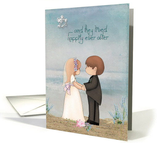 wedding for niece with bride and groom on a beach card (893677)