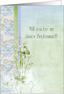 sister, Junior Bridesmaid, lily of the valley, wedding, butterfly card