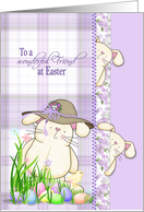 Easter for Friend, cute bunny with colored eggs on plaid background card