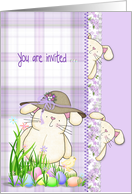 Easter egg hunt party invitation with bunnies and eggs in grass card