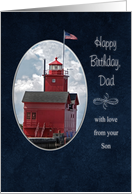 Dad's birthday with lighthouse from Son card