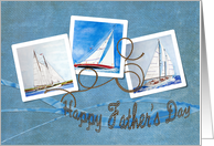 Sailboat collage with rope for Father's Day from children card