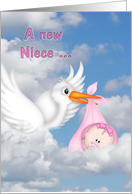 congratulations to aunt on new niece with stork card