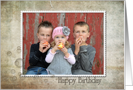 Birthday bubbles photo card with grungy texture card