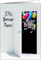 surprise 57th birthday party invitation with balloons card