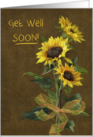 Get Well Soon with sunflower bouquet card