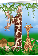 First Birthday for Twins with monkeys and giraffe card