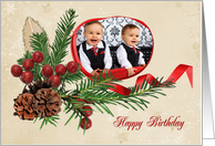 Christmas Birthday photo card for Mom with ribbon frame card