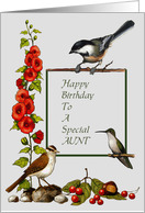 Happy Birthday To A Special Aunt, Nature Border With Birds And Flowers: Art card