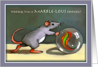 Cute Mouse with Marble, Marble-lous, Pun, Original Art card