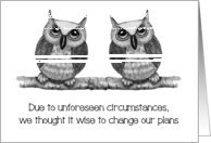 Coronavirus, General Change of Plans, Wise Owl Couple, Announcement card