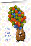 Kid's Party Invitation with Hamster Holding Lots of Balloons, Colorful card
