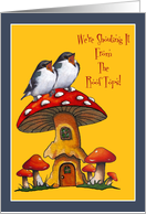Pregnancy Announcement, Shouting From Rooftops: Birds, Toadstools card