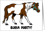 cartoon horse barn party invitation card