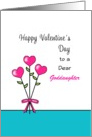 For Goddaughter Valentine's Day Greeting Card-Heart Flowers-Custom card