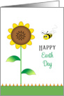 Earth Day Greeting Card-Sunflower and Bumble Bee-April 22 card