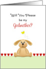 Be My Godmother Christening/Baptism Greeting Card-Bunny-Butterfly card