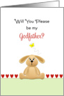 Be My Godfather Christening/Baptism Greeting Card-Bunny-Butterfly card